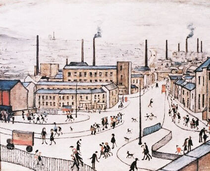 L S Lowry, 'Huddersfield', from an edition of 850, published by Henry Donn Galleries.  Current auction value up to £2,500