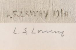 A genuine Lowry pencil signature in the margin beneath the reproduction signature on the print