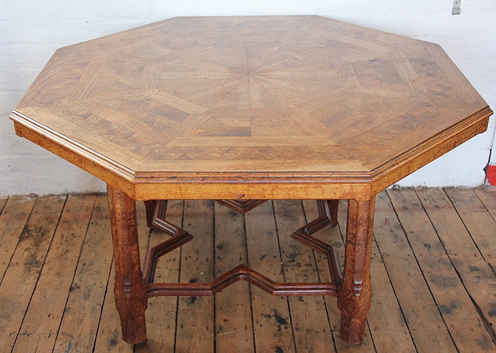 A Victorian Howard and Sons oak and elm parquetry library table £3,400