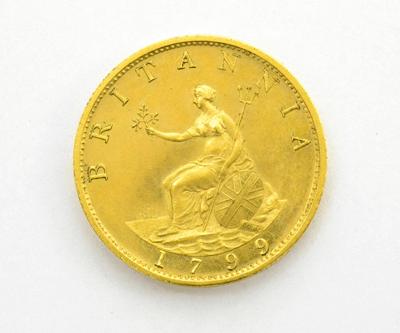 George III, Gilt Bronze Proof Halfpenny 1799, RARE GEF £750