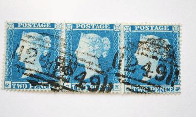 Great Britain. 1841 2d Blue, horizontal strip of twelve AAAL, Plate 3. Lower and right margins huge, £1000