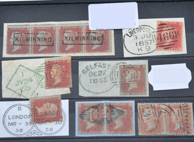 Great Britain. 1854 to 1857 1d Red with various cancellations £250