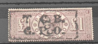 Great Britain. 1884 £1 Brown-lilac E-C. Watermark £300