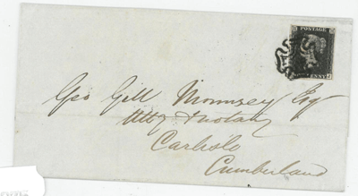 Great Britain. February 1841 outer letter sheet to Carlisle - £350