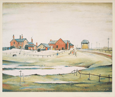L S Lowry Landscape With Farm Buildings