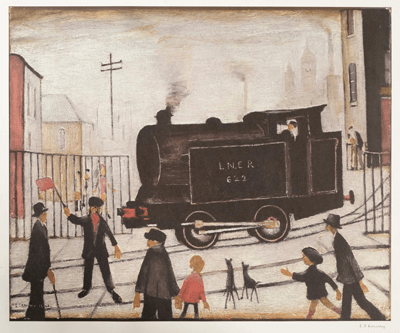 L S Lowry Level Crossing With Train
