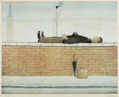 L S Lowry Man Lying on a Wall