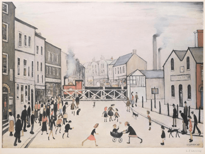 L S Lowry The Level Crossing Burton on Trent