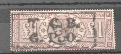 Great Britain. 1884 £1 Brown-lilac E-C. Watermark £300
