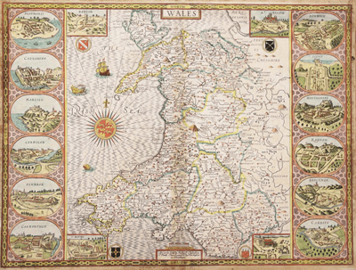 John Speed, Hand coloured engraving, A map of Wales -  £480