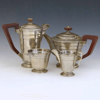 Silver four-piece art deco style tea set, Walker