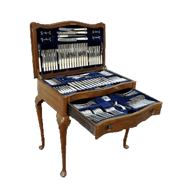 A wonderful Queen Anee style canteen containing an extensive service of silver flatware.