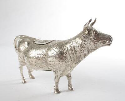 Naturalistic silver cow creamer
