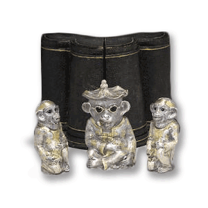 A superb example of a novelty silver cruet set.