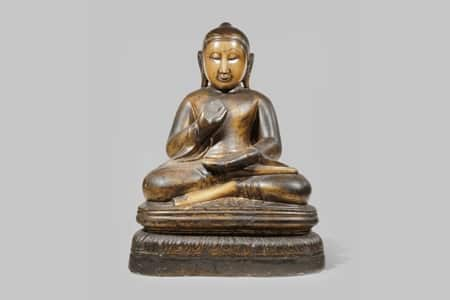 A-BURMESE-LACQUERED-AND-GILT-MARBLE-FIGURE-OF-BUDDHA-SHAKYAMUNI-£1800