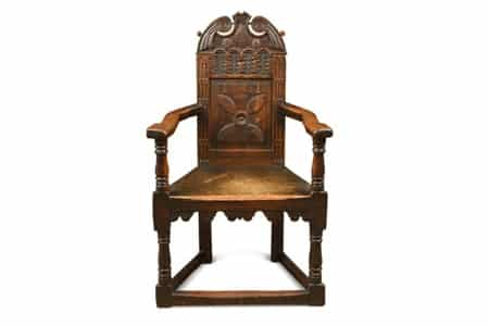 An-early-17th-century-oak-cacqueteuse-joined-armchair-£3800