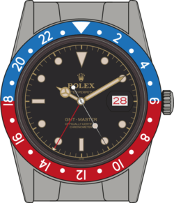 With the iconic red and blue bezel, now made of metal