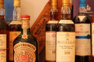 Collectors bottles of whisky