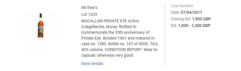 An excerpt from an online price database showing the sale of a bottle of Macallan Priavte Eye in 2017.