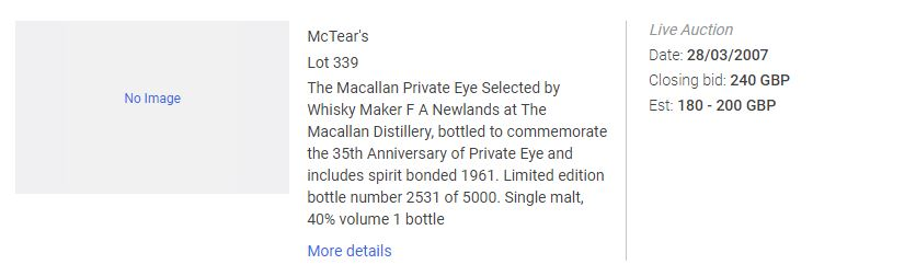 An excerpt from an online price database showing the sale of a bottle of Macallan Priavte Eye in 2002.