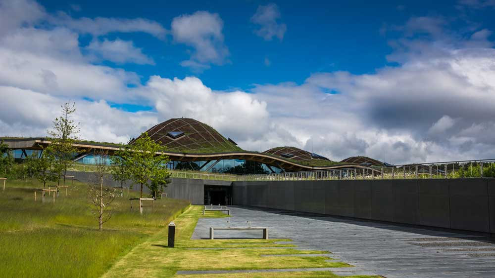The exterior of Macallan distillery