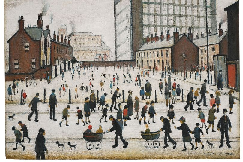 Painting by Lowry of people milling around next to a mill