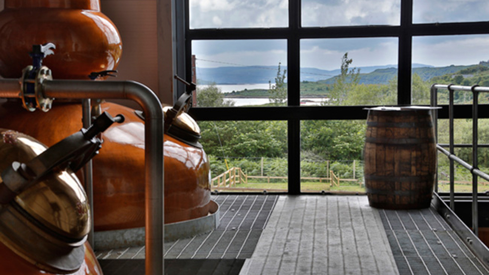 The stills and a view out of the window at Ardnamurchan distillery