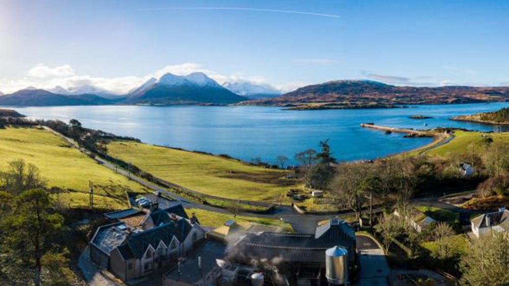A view of the Raasay landscape over the distillery