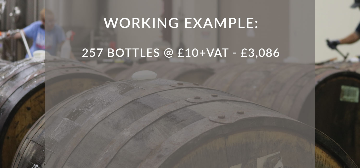 Working Example: 257 bottles at £10+VAT: £3,086