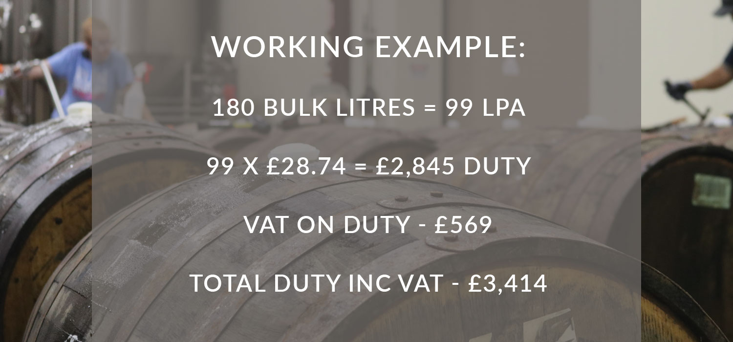 Working example: 180 bulk litres = 99 LPA.99 x £28.74 =£2,845 duty, VAT on duty: £569, total inc VAT: £3,414