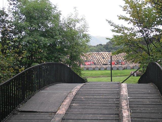 A bridge leading to Cambus distillery.