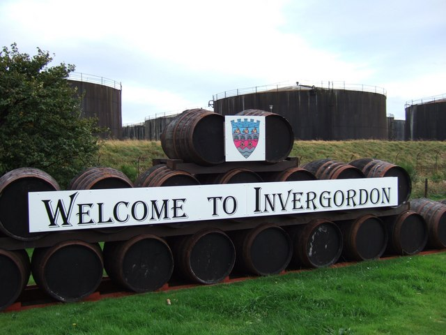A sign outside Invergordon distillery.
