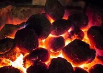 Coke Coal Burning in a Fireplace