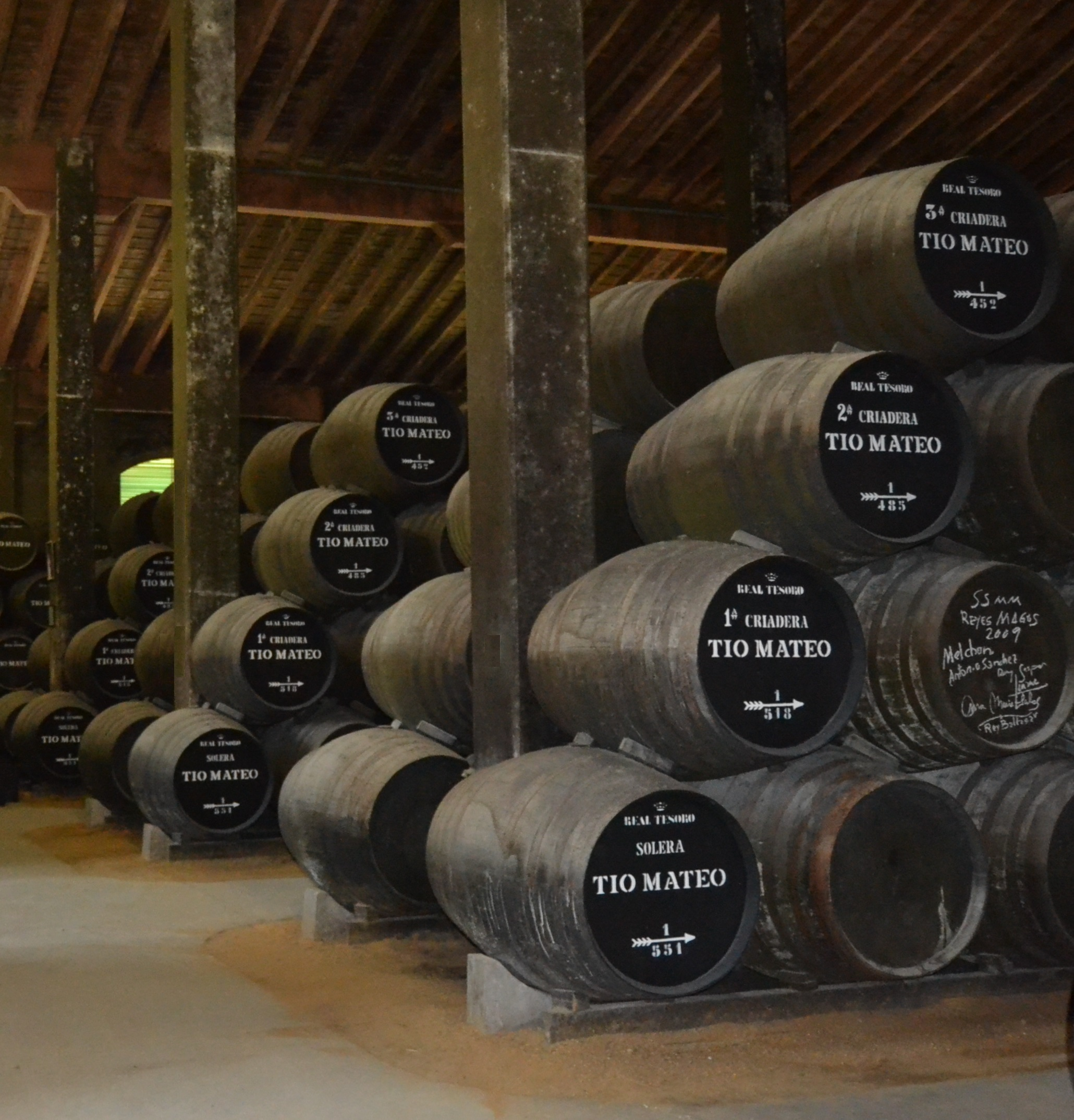 A traditional solera set up, with the youngest sherry at the top and the solera cask at the bottom with the most mature sherry