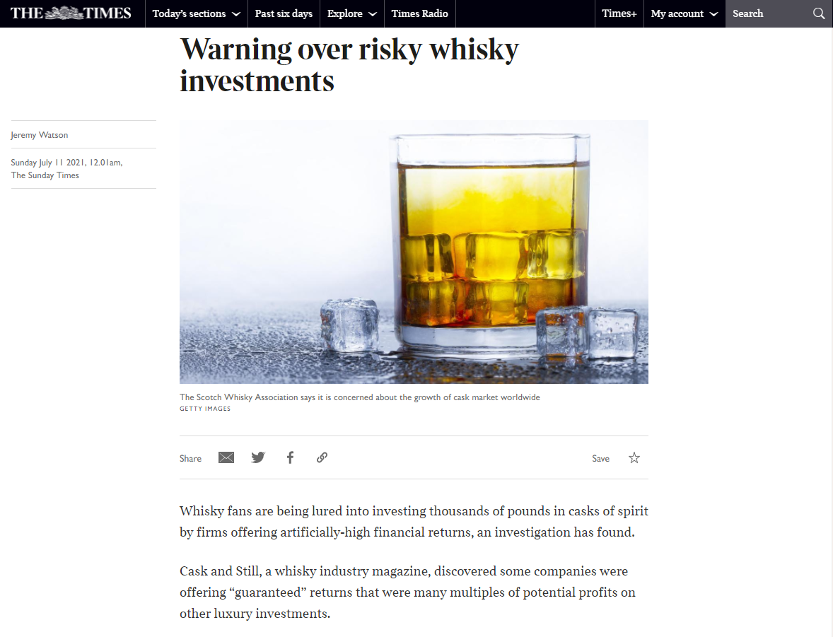 Risky Whisky Investment - The Sunday Times Article