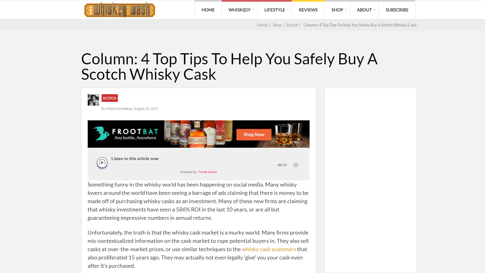 The Whiskey Wash Cask investment